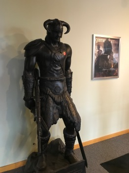 "Skyrim Statue with ""I Voted"" Sticker"