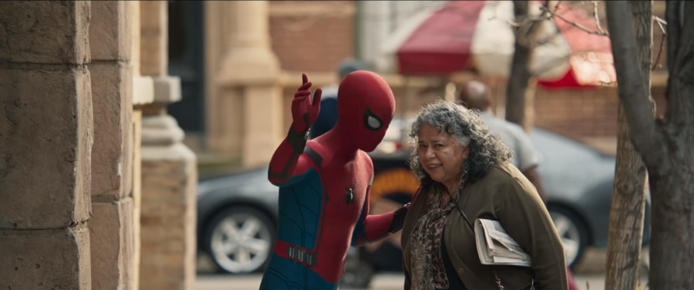 Spider man with old lady