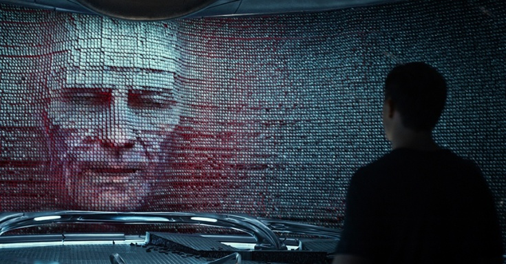 Zordon, trapped in a wall.
